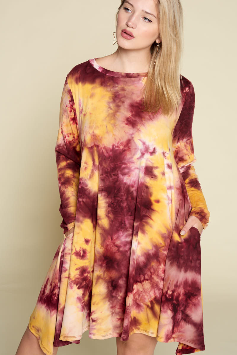 Tie Dye Brush Dress - Crimson/Gold - Curvy Clothes Australia - Afterpay Laybuy & Humm Online