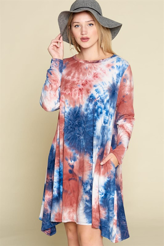 Tie Dye Brush Dress - Blue/Rust - Curvy Clothes Australia - Afterpay Laybuy & Humm Online
