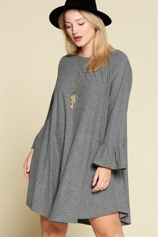 Casual and Comfortable Dress With Pockets - Charcoal - Emerald Curve