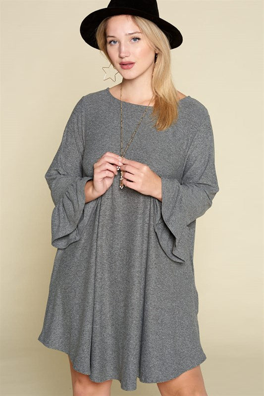Casual and Comfortable Dress With Pockets - Charcoal - Curvy Clothes Australia - Afterpay Laybuy & Humm Online