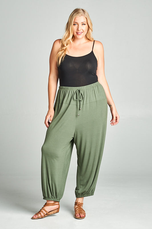 Rayon Relaxed Fit Jogger Pants - Olive - Emerald Curve