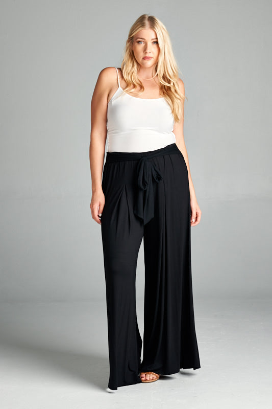 Rayon High Waisted Palazzo Pants - Black - Emerald Curve