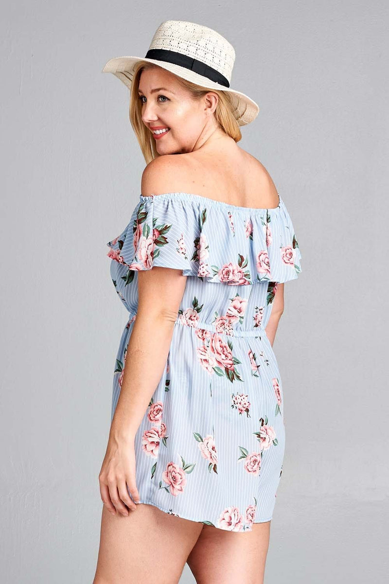 Millie Dusty Blue Playsuit Curve - Curvy Clothes Australia - Afterpay Laybuy & Humm Online