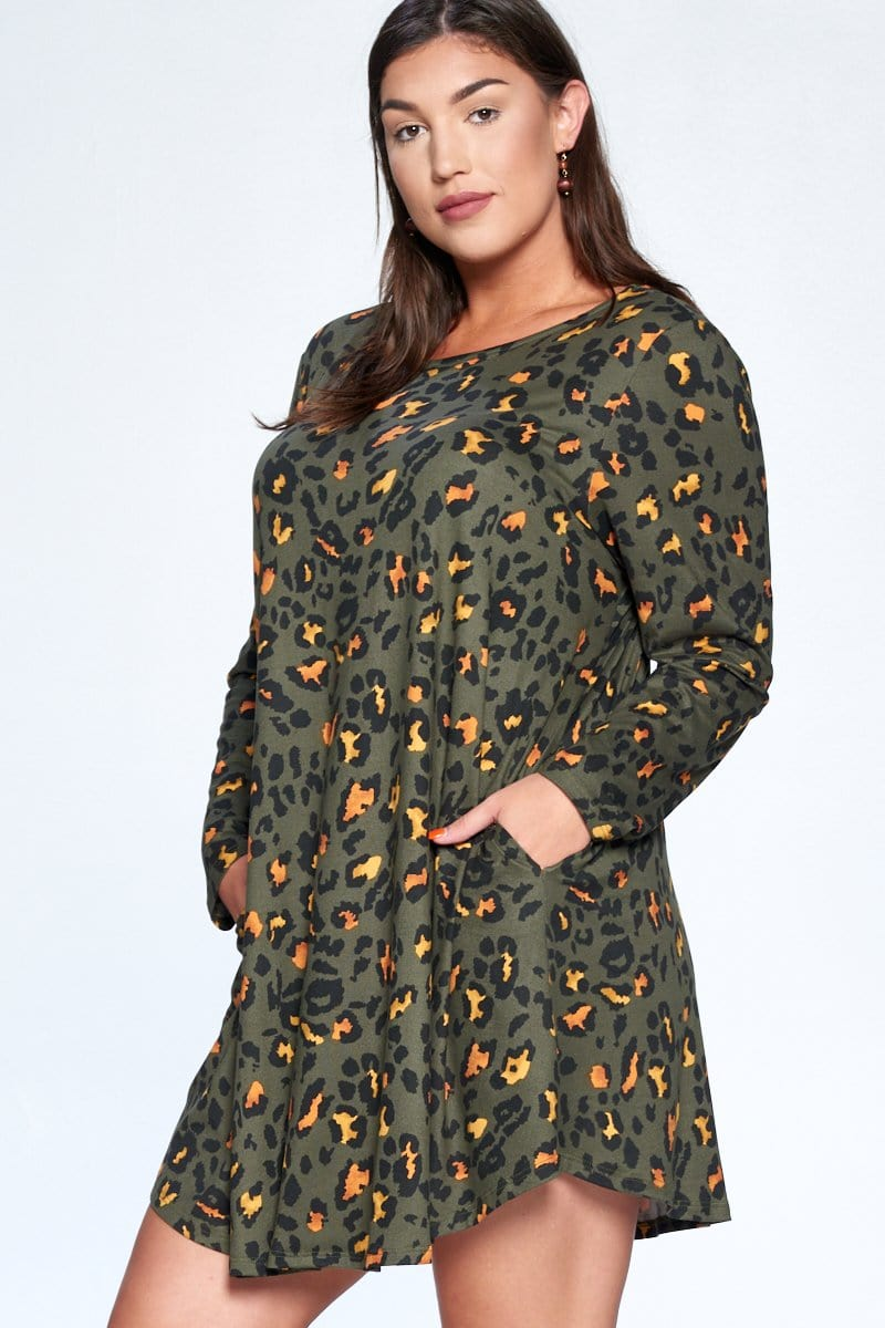 Animal Printed Brush Tunic Dress - Olive - Curvy Clothes Australia - Afterpay Laybuy & Humm Online