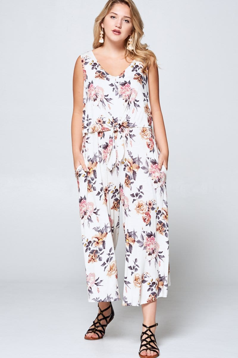 Floral Ivory Sleeveless Curvy Jumpsuit - Curvy Clothes Australia - Afterpay Laybuy & Humm Online