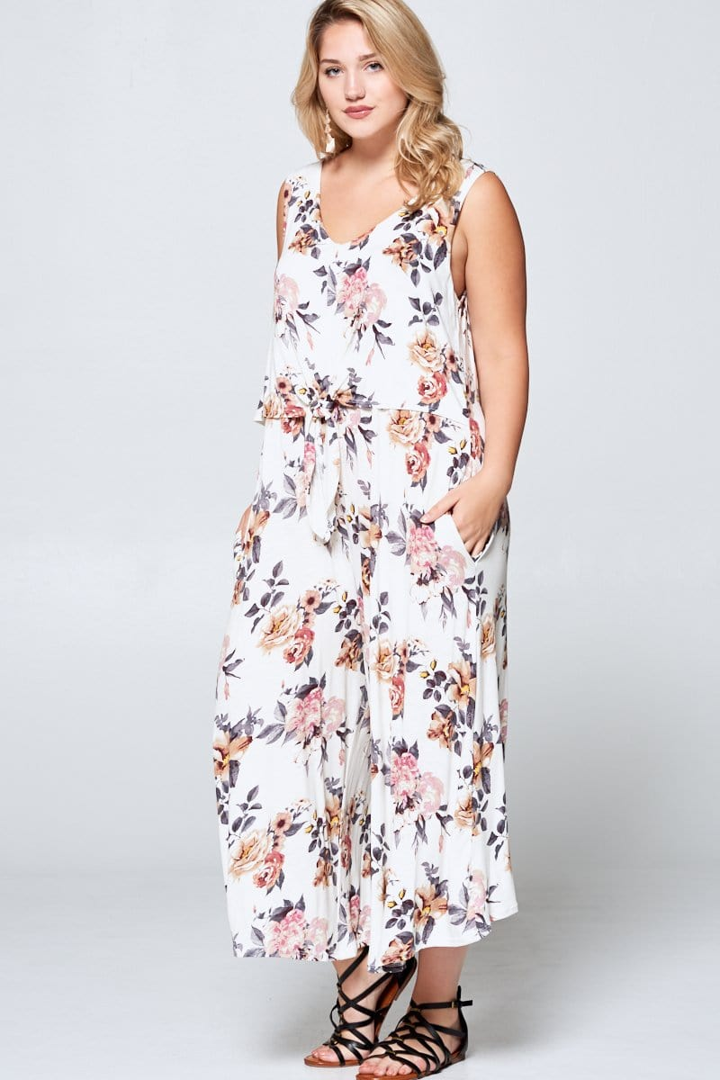 Floral Ivory Sleeveless Curvy Jumpsuit - Emerald Curve