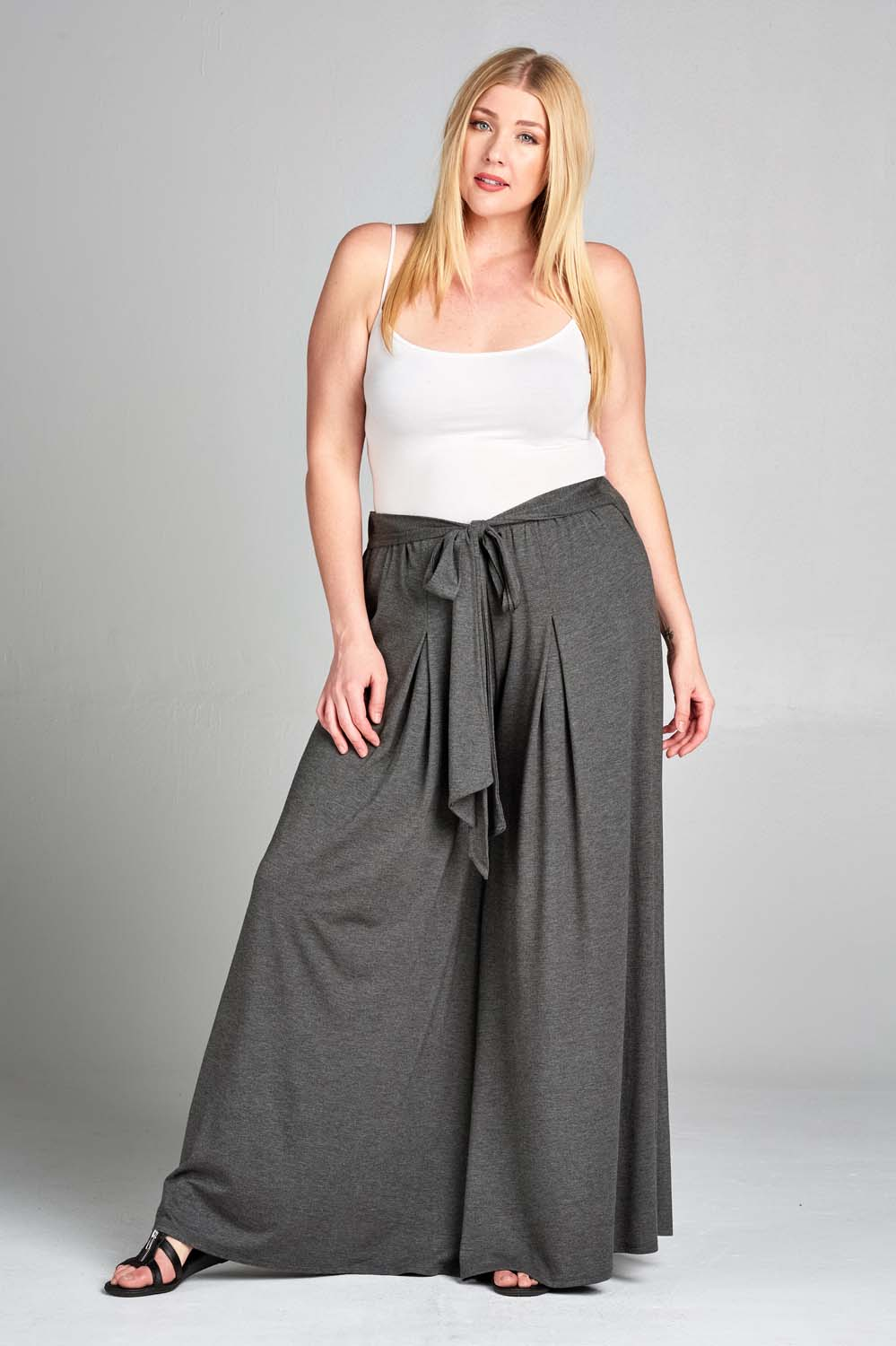 Rayon High Waisted Palazzo Pants - Charcoal - Emerald Curve