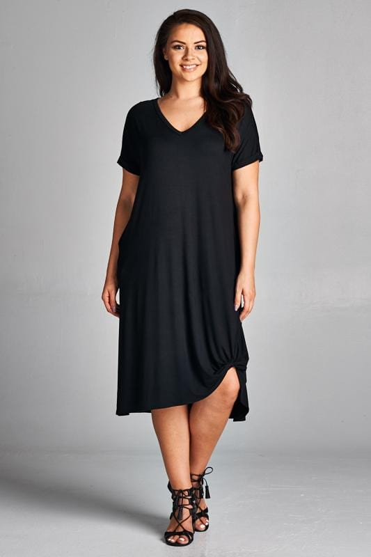 Black T-Shirt Dress - Emerald Curve