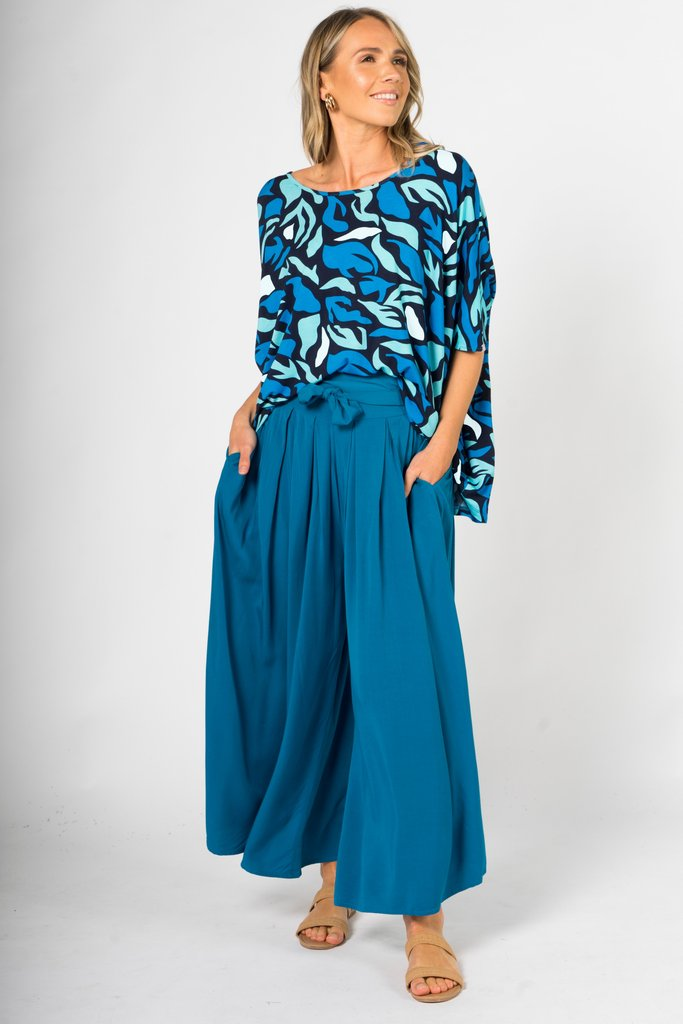 Tyla Flare Pant in Marine Teal - AUS 18-22