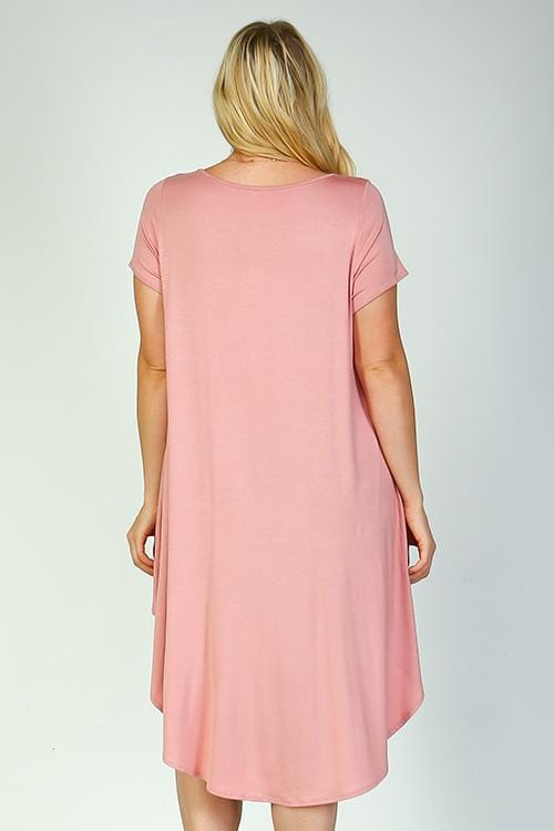 Dusty Pink Long Tail T-Shirt - Curvy Clothes Australia - Afterpay Laybuy & Humm Online
