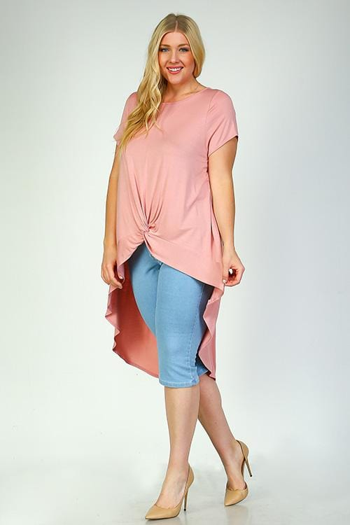 Aubrey Dusty Pink Long Tail T-Shirt - Curvy Clothes Australia - Afterpay Laybuy & Humm Online