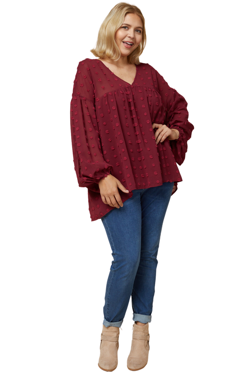 Gretchen Long Sleeve Top - Burgundy