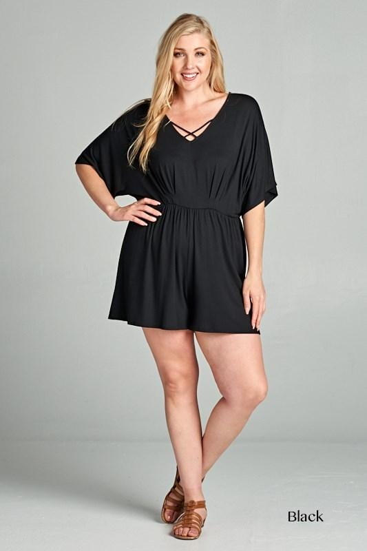Black Playsuit Curve - Curvy Clothes Australia - Afterpay Laybuy & Humm Online