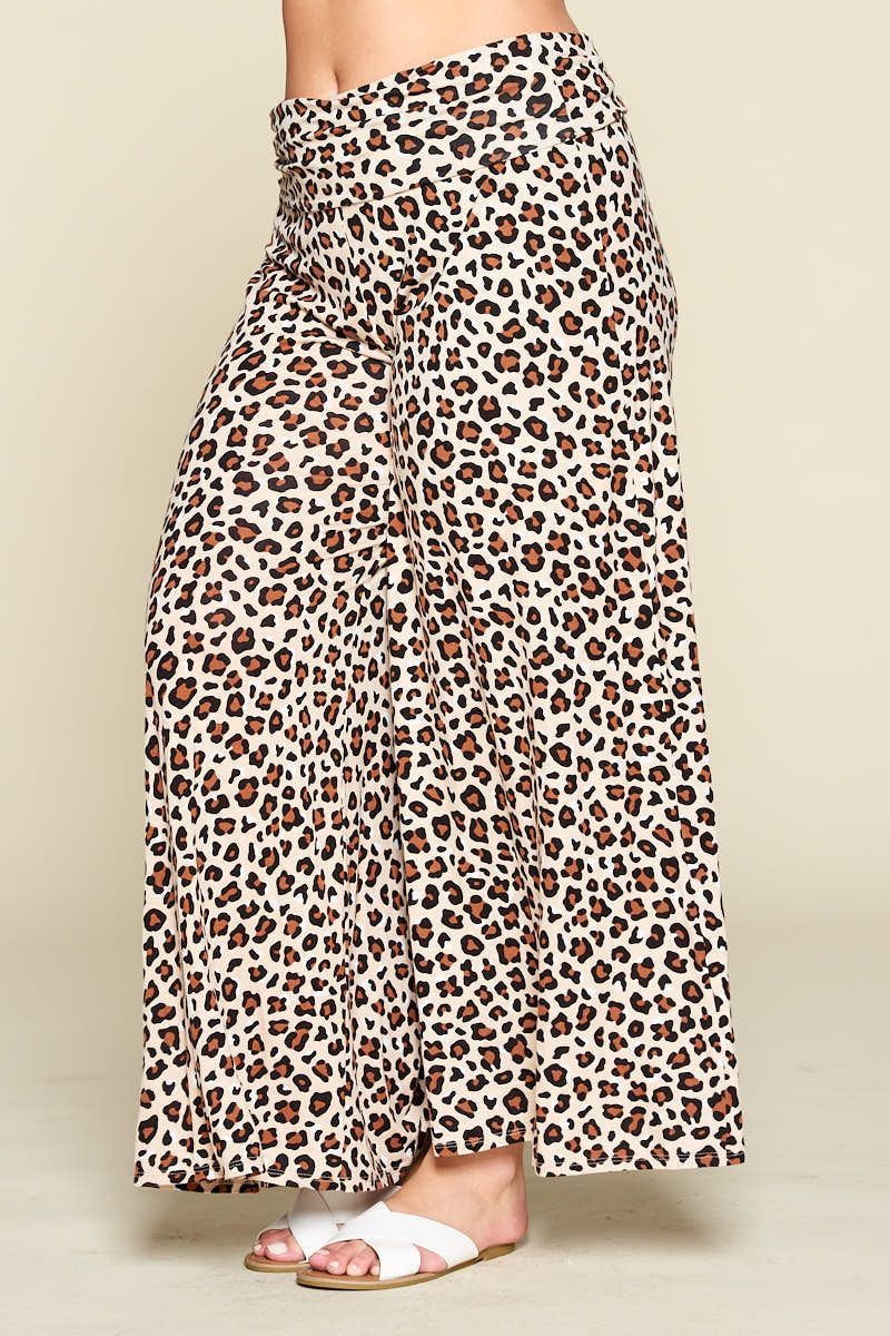 Leopard Wide Leg Pants - Curvy Clothes Australia - Afterpay Laybuy & Humm Online