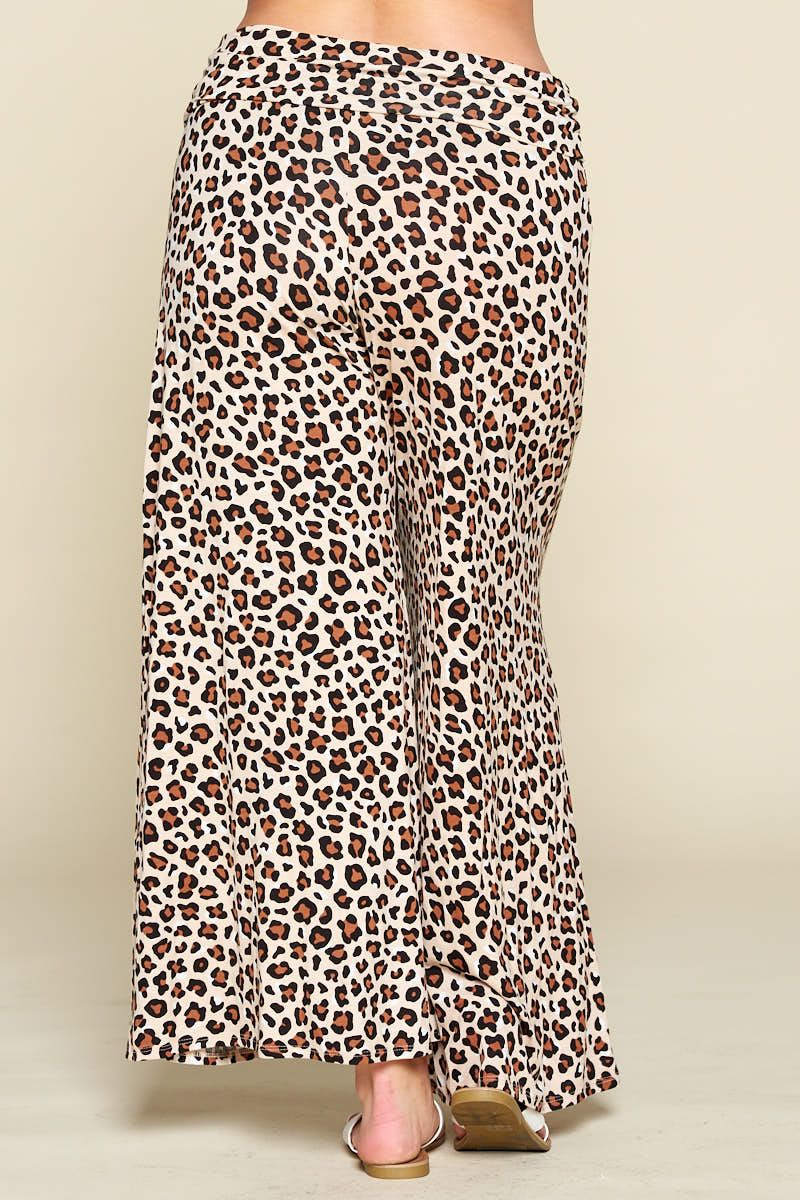 Leopard Wide Leg Pants - Emerald Curve