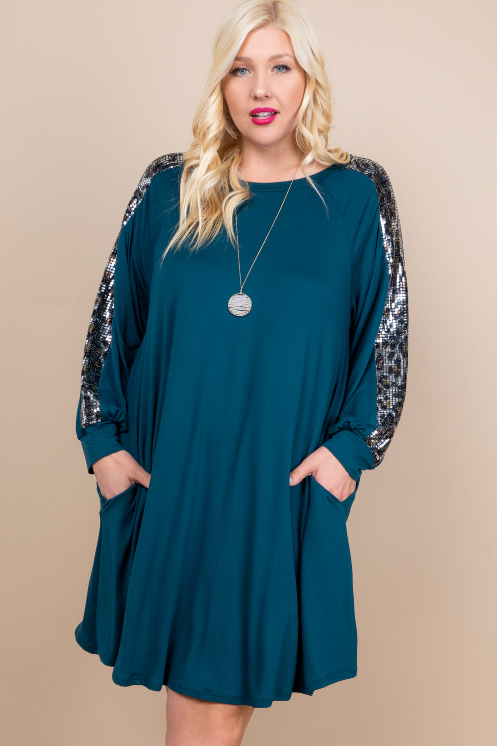 Animal Print Sequin Sleeve Dress With Pockets - Teal - Curvy Clothes Australia - Afterpay Laybuy & Humm Online