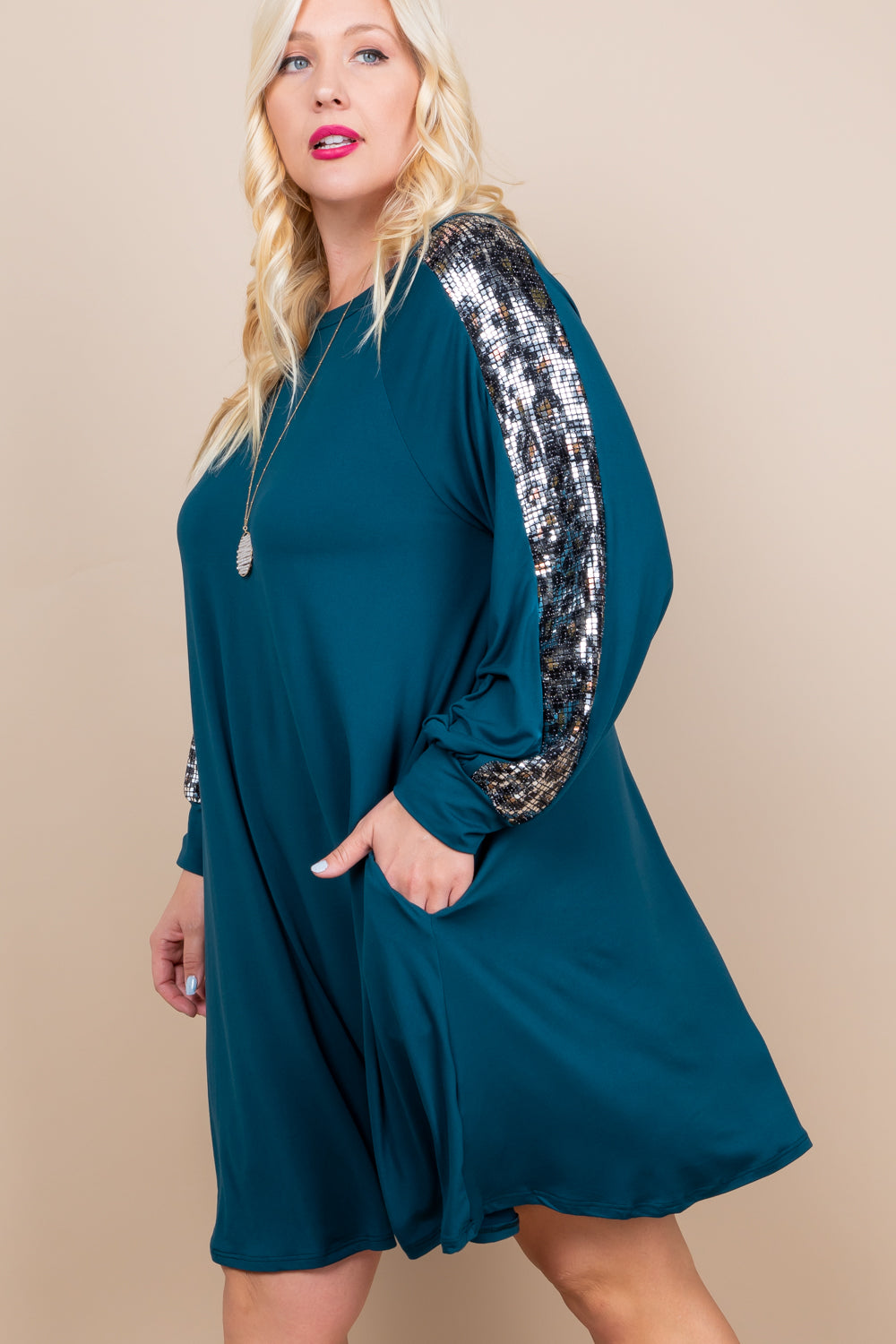 Animal Print Sequin Sleeve Dress With Pockets - Teal - Emerald Curve