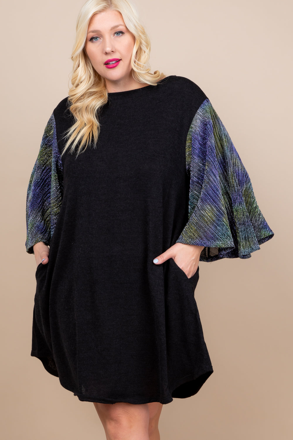 Felix Solid Knit Fashion Dress - Black - Curvy Clothes Australia - Afterpay Laybuy & Humm Online