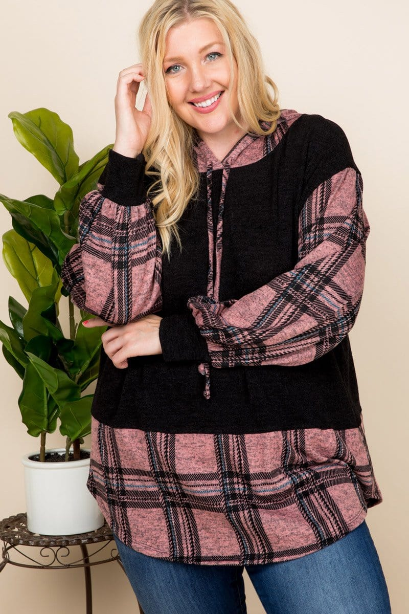 Andy Curvy Plaid Hoodie - Mauve - Curvy Clothes Australia - Afterpay Laybuy & Humm Online