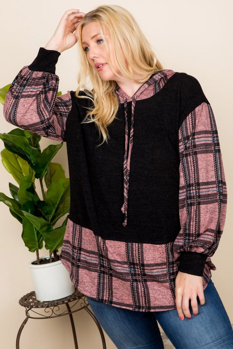 Curvy Plaid Hoodie - Mauve - Curvy Clothes Australia - Afterpay Laybuy & Humm Online