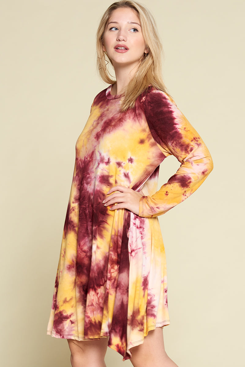 Tie Dye Brush Dress - Crimson/Gold - Emerald Curve