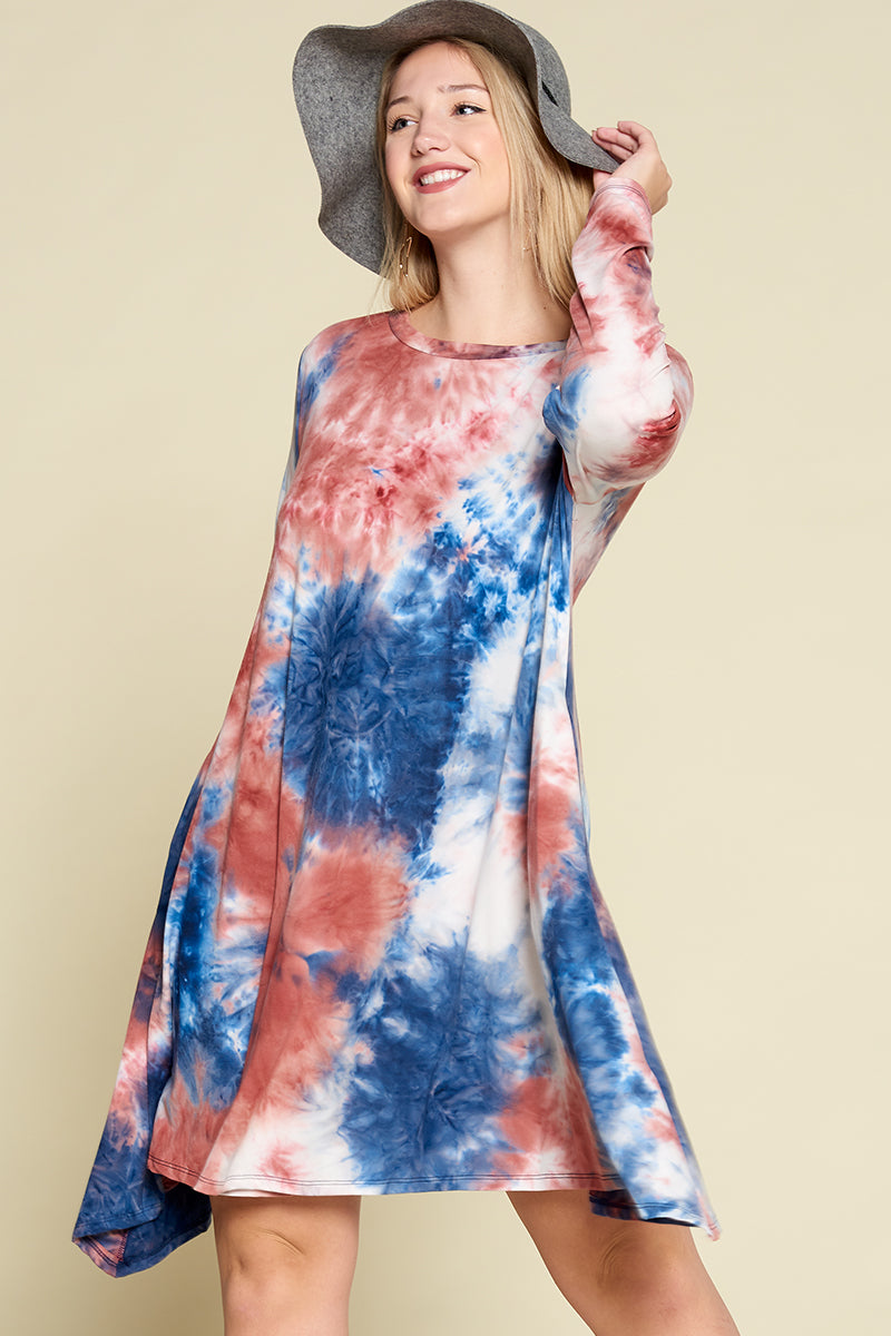 Tie Dye Brush Dress - Blue/Rust - Emerald Curve