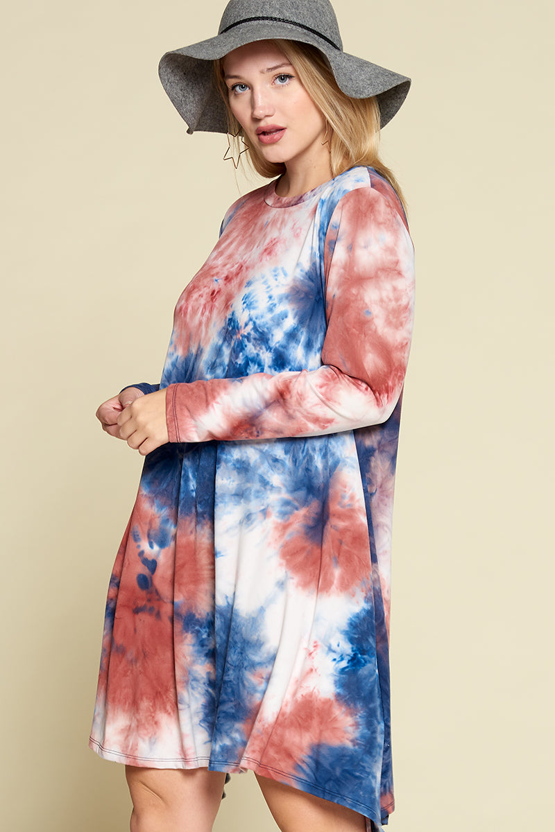 Melody Tie Dye Brush Dress - Blue/Rust - Curvy Clothes Australia - Afterpay Laybuy & Humm Online