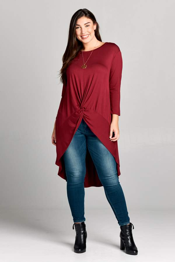 Burgundy Three Quarter Sleeve Curve Top - Emerald Curve