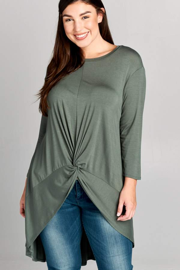 Olive Three Quarter Sleeve Curvy Top - Emerald Curve