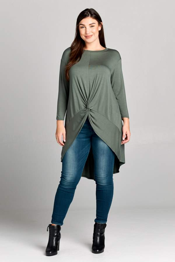 Farrah Olive Three Quarter Sleeve Curvy Top - Curvy Clothes Australia - Afterpay Laybuy & Humm Online