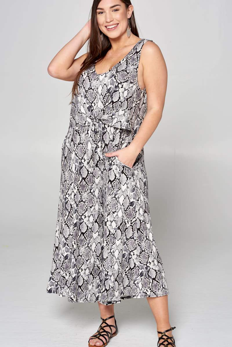 Snake Grey Jumpsuit Curve - Curvy Clothes Australia - Afterpay Laybuy & Humm Online