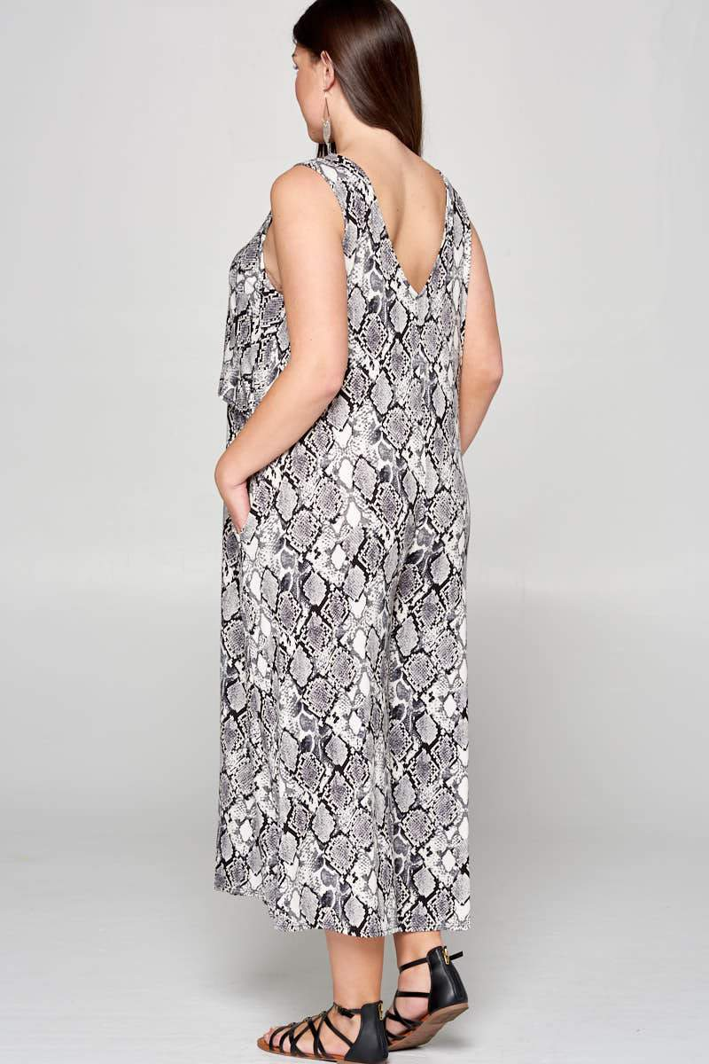 Hallie Snake Grey Jumpsuit Curve - Curvy Clothes Australia - Afterpay Laybuy & Humm Online