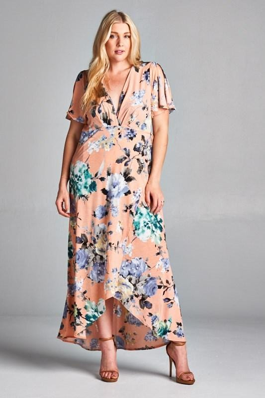 Apricot Floral Maxi Dress - Emerald Curve