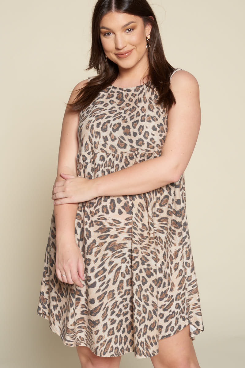 Sleeveless Animal Babydoll Dress - Curvy Clothes Australia - Afterpay Laybuy & Humm Online