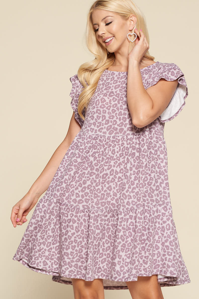 Margot Lavender Leopard Babydoll Dress