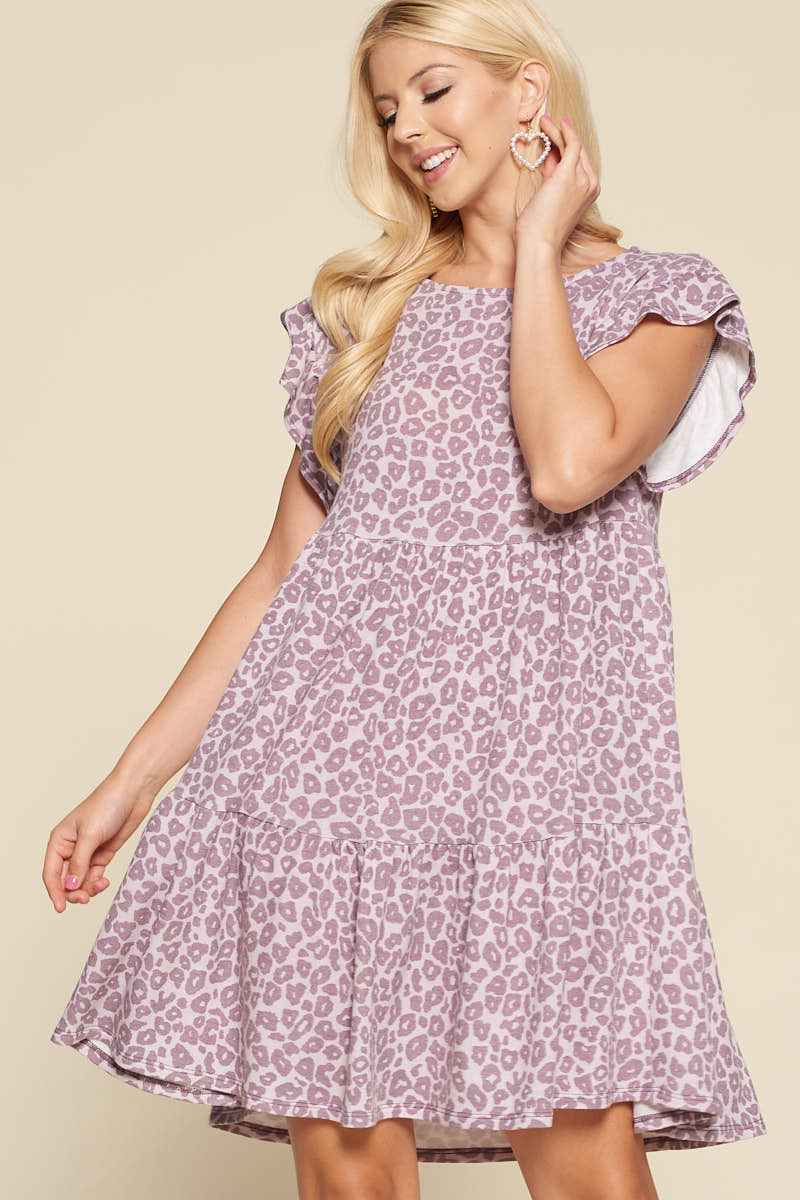 Lavender Leopard Babydoll Dress