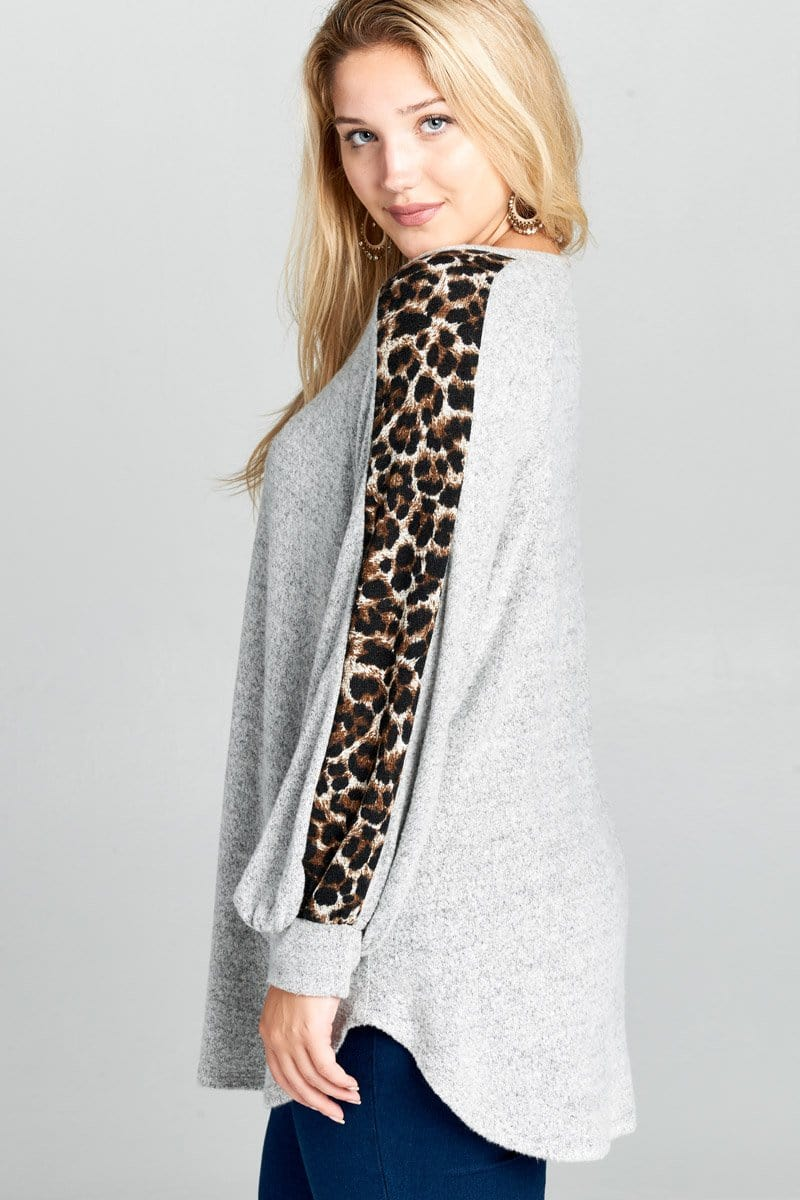 Grey & Leopard Print Top - Curvy Clothes Australia - Afterpay Laybuy & Humm Online