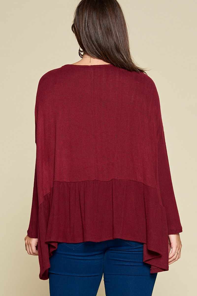 Burgundy Oversized Peplum Top - Curvy Clothes Australia - Afterpay Laybuy & Humm Online