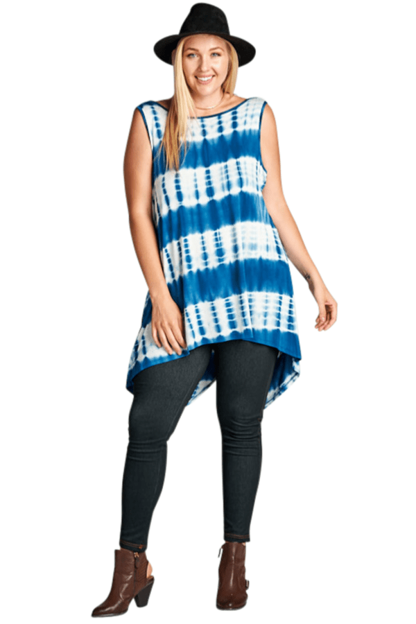 Tie Dye Blue Sleeveless Top - Curvy Clothes Australia - Afterpay Laybuy & Humm Online