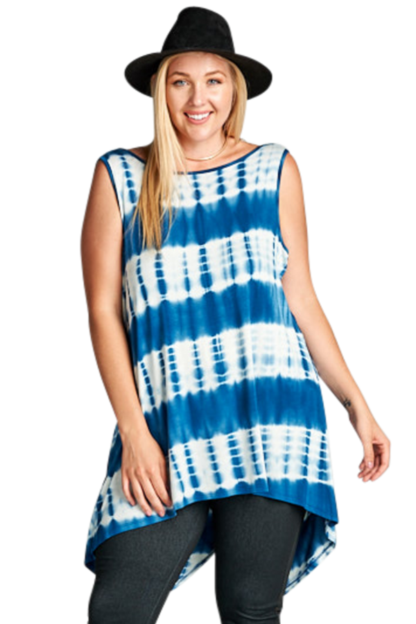 Radiance Tie Dye Blue Sleeveless Top - Curvy Clothes Australia - Afterpay Laybuy & Humm Online