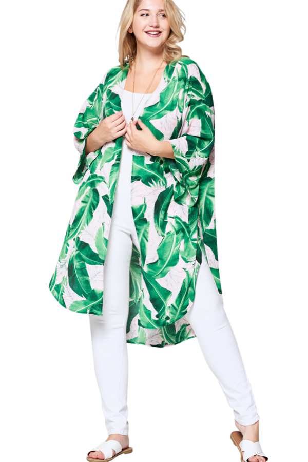 Holly Curvy Kimono - Tropical Leaf - Curvy Clothes Australia - Afterpay Laybuy & Humm Online