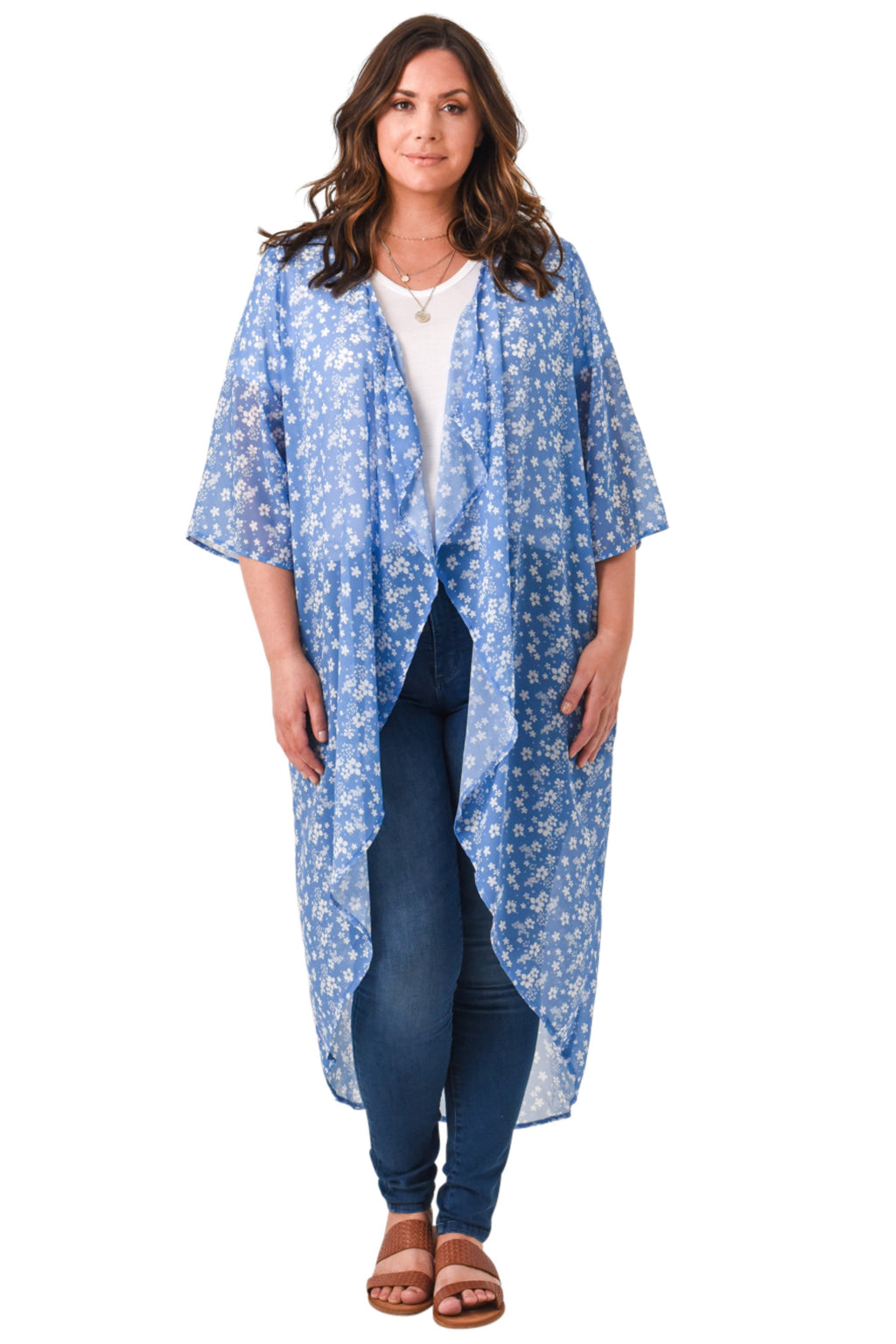 Blue Floral Kimono - Curvy Clothes Australia - Afterpay Laybuy & Humm Online