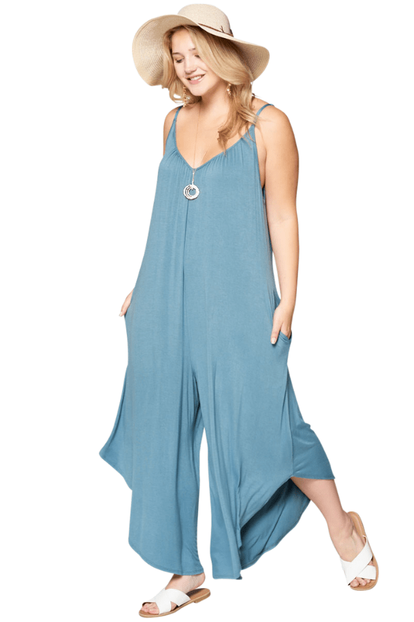 Blue Curvy Jumpsuit - Curvy Clothes Australia - Afterpay Laybuy & Humm Online