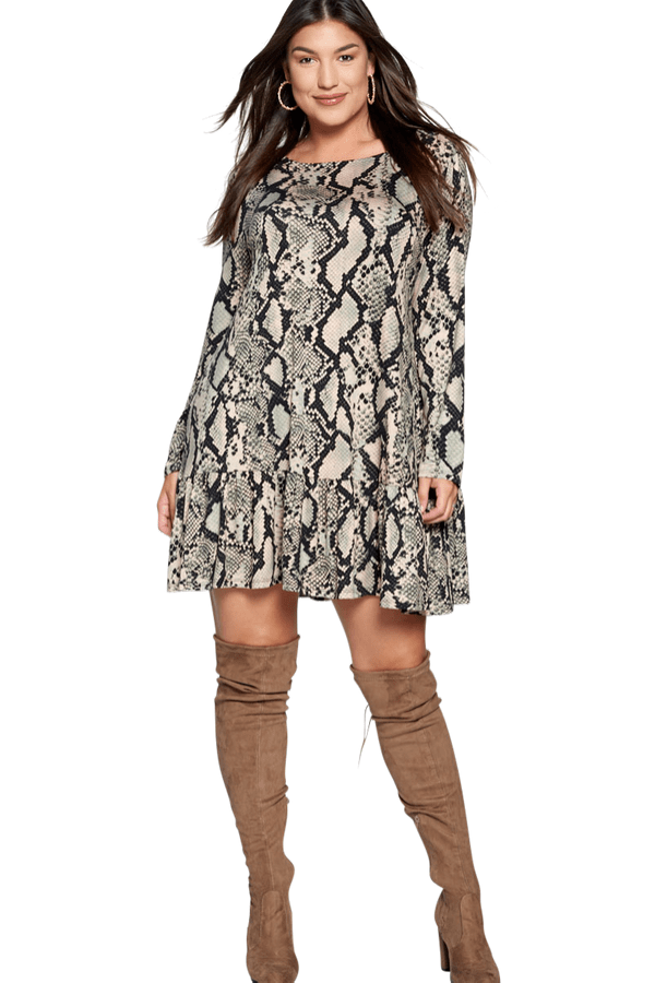 Victoria Snakeskin Dress - Green - Curvy Clothes Australia - Afterpay Laybuy & Humm Online