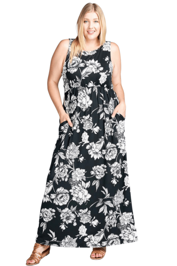 Floral Black Maxi Dress - Curvy Clothes Australia - Afterpay Laybuy & Humm Online