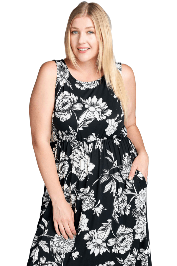 Floral Black Maxi Dress - Emerald Curve