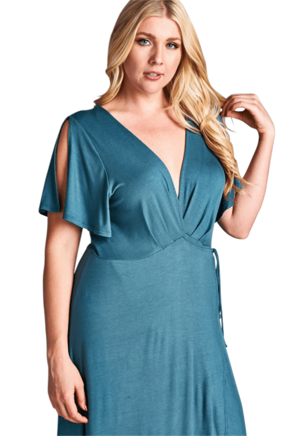 Curvy Maxi Dress - Antique Blue - Emerald Curve