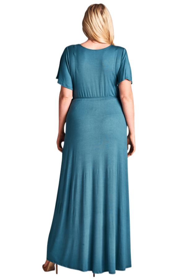 Curvy Maxi Dress - Antique Blue - Curvy Clothes Australia - Afterpay Laybuy & Humm Online