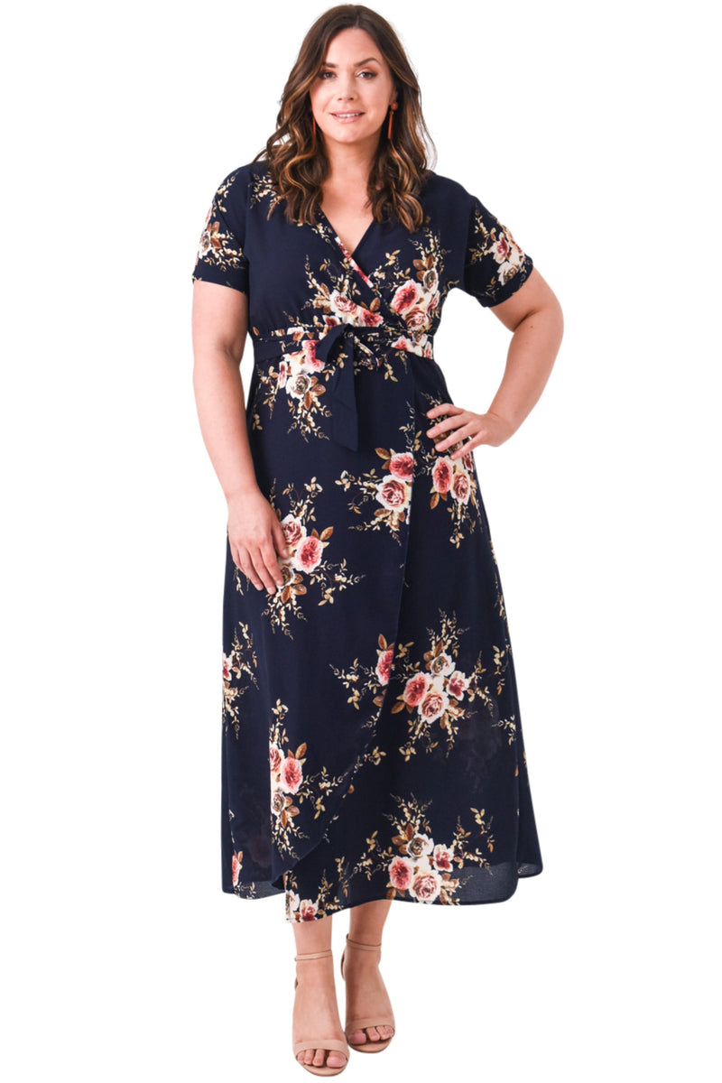 plus size Maxi Dress XL / AUS 14 / Floral Navy Bianca Dress