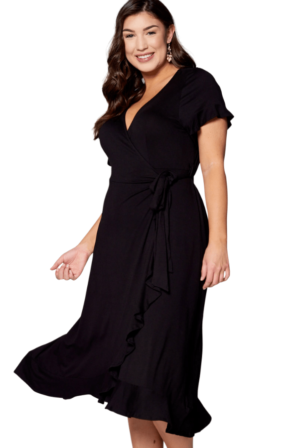 Black Wrap Dress - Emerald Curve